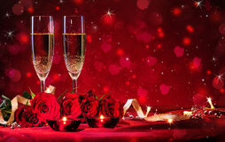 Valentines day background. With champagne and roses Stock Images