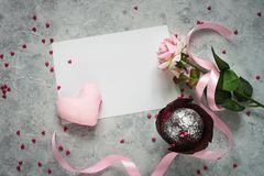 Valentines day background. Chocolate cupcake, gift and flower. Royalty Free Stock Photo