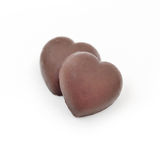 Valentines day background with Chocolate heart shape isolate on white background Stock Photos