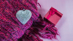 Valentines Day background with Close up Silver heart on scarves Stock Photography