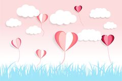 Valentines Day background cloud and love ballon with paper cut effect stock photos