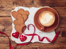 Valentines day background with coffee cup Royalty Free Stock Photo