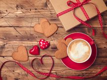 Valentines day background with coffee cup Royalty Free Stock Photography