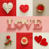 Valentines day background collage. Hearts, gift box, nest, red rose and LOVE letters. Stock Photography
