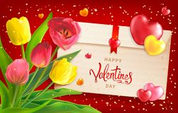 Valentines Day Background. Composition with bouquet of red and yellow tulips, envelope, hearts and sequins. Happy Valentines Day background. Template for Royalty Free Stock Image