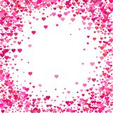 Valentines Day background. Confetti hearts petals falling. Heart stock illustration