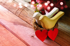 Valentines day background. Couple of hearts and two birds Royalty Free Stock Photos