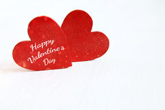 Valentines day background. Couple of wooden hearts Royalty Free Stock Photography