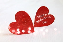 Valentines day background. Couple of wooden hearts Royalty Free Stock Image