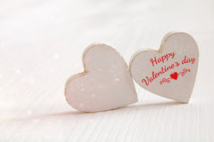 Valentines day background. Couple of wooden hearts Royalty Free Stock Photos