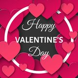 Valentines day  background with  cut paper hearts and round fram Stock Photos