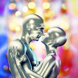 Valentines day background with 3d cyber couple Royalty Free Stock Photography
