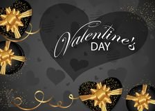 Valentines day background decorated black Boxes with gold bows, hearts and ribbon. Design for posters, banners or cards. Vector. Illustration vector illustration