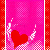 Valentines day background design. A vector illustration of valentines day background design with heart , wings , dotted theme Stock Photo