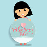 Valentines day background design with Cute girl. Vector illustra. Tion Royalty Free Stock Image