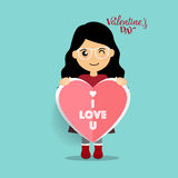 Valentines day background design with Cute girl. Vector illustra. Tion Stock Image