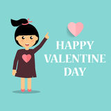 Valentines day background design with Cute girl. Vector illustra. Tion Stock Images