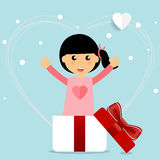 Valentines day background design with Cute girl. Vector illustra Royalty Free Stock Photo