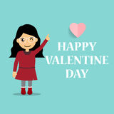 Valentines day background design with Cute girl. Vector illustra Stock Photos