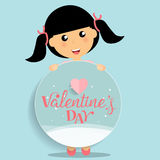 Valentines day background design with Cute girl. Vector illustra. Tion Royalty Free Stock Photos