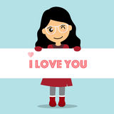 Valentines day background design with Cute girl. Vector illustra. Tion Royalty Free Stock Photography