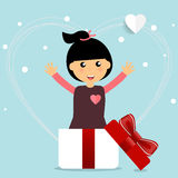 Valentines day background design with Cute girl. Vector illustra Stock Images
