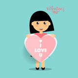 Valentines day background design with Cute girl. Vector illustra Royalty Free Stock Images