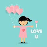 Valentines day background design with Cute girl. Vector illustra. Tion Stock Photo
