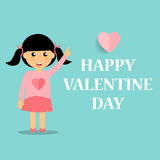 Valentines day background design with Cute girl. Vector illustra Stock Image
