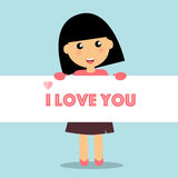 Valentines day background design with Cute girl. Vector illustra Royalty Free Stock Photos