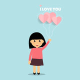 Valentines day background design with Cute girl. Vector illustra Stock Photo