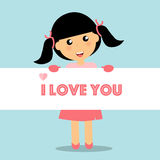 Valentines day background design with Cute girl. Vector illustra Royalty Free Stock Photography