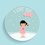 Valentines day background design with Cute girl. Vector illustra Royalty Free Stock Image