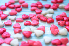 Valentines Day background with Fabric valentine heart on grunge wood table.Retro filter Stock Photography