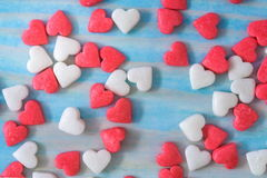 Valentines Day background with Fabric valentine heart on grunge wood table.Retro filter Royalty Free Stock Photos