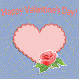 Valentines Day background with filigree heart and a beautiful rose. Vector illustration Stock Image