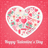 Valentines Day Background with Flat Icons and Heart Shape Frame Stock Photos