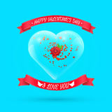 Valentines day background with flower within glass. Heart. Vector illustration for your greeting or invitation card, poster, flyer, other design vector illustration