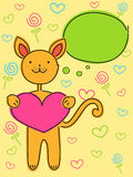 Valentines day background. With funny cat vector illustration