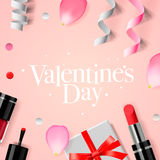 Valentines Day background with gift box, cosmetics Royalty Free Stock Photos