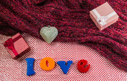 Valentines Day background with gift box Silver heart, scarves an Royalty Free Stock Photography