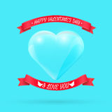 Valentines day background with glass heart. Vector. Illustration for your greeting or invitation card, poster, flyer, other design stock illustration