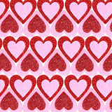 Valentines Day background. Glitter Red and Pink Hearts. Stock Photos