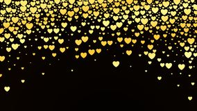 Valentines day background with glossy golden hearts on dark. Vector illustration.  Stock Illustration