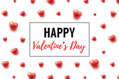 Valentines Day Background with glossy hearts. And frame. Vector illustration for gift cards, wallpaper, flyers, invitation, posters, brochure, website banners Stock Photos