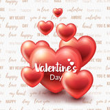 Valentines Day Background with glossy hearts. And love words on background. Vector illustration for gift cards, wallpaper, flyers, invitation, posters, brochure Stock Images