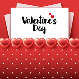 Valentines Day Background with glossy hearts. Paper sheets and polka dots. Vector illustration Royalty Free Stock Images