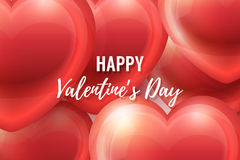 Valentines Day Background with glossy hearts. Valentines Day Background with realistic glossy hearts, lettering and frame. Vector holiday illustration. Love Stock Image