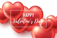 Valentines Day Background with glossy hearts. Valentines Day Background with realistic glossy hearts, lettering and frame. Vector holiday illustration. Love Royalty Free Stock Photography