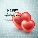 Valentines Day Background with glossy hearts. Vector illustration for gift cards, wallpaper, flyers, invitation, posters, brochure, website banners Stock Image